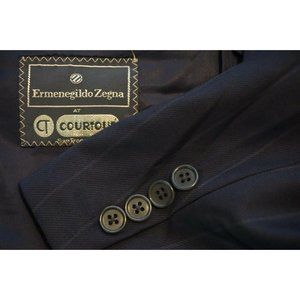 Ermenegildo Zegna S100 Wool Navy Blue Striped suit